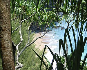 Na Pali Coast, Kauai, Hawaii: view of beach th...