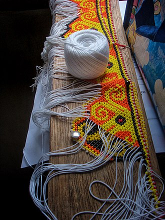 Bead weaving - An example of off-loom beadweaving from Australia.
