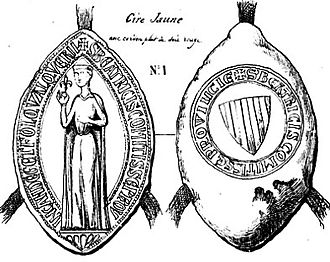 Beatrice of Provence - Engraving of a sealing of Beatrice: Beatrice holds the fleur-de-lis; on the reverse, the arms of Provence