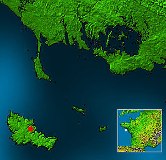 Belle Île - White dot: Location of Belle Île in France. Red dot: Location of the city Le Palais on Belle Île.
