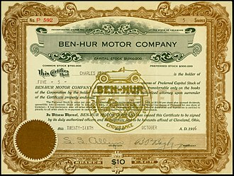 Ben Hur (automobile) - Share of the Ben-Hur Motor Company, issued 26. October 1916