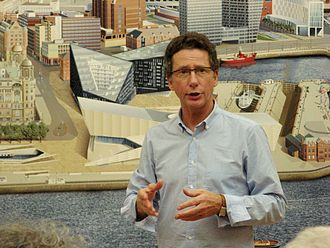 Ben Johnson (artist) - Ben Johnson, in front of his Liverpool Cityscape, at the Walker Art Gallery, Liverpool in 2008