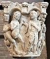 Benedetto antelami, capitello con storie della genesi 01, dal duomo di parma, 1178, dio conduce adamo ed eva nel paradiso terrestre.jpg