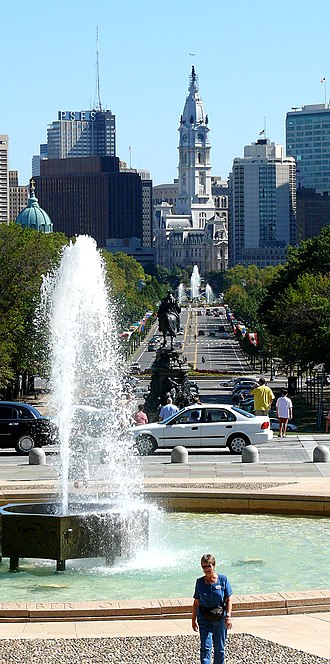 Benjamin Franklin Parkway - Benjamin Franklin Parkway, from the top of the steps of the Philadelphia Museum of Art.