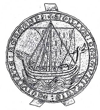 Longship - The city seal of Bergen, Norway, from 1299. Which had the image of Drakkar a type of Viking longships.