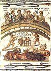 Mosaik Romawi (220–250 M) dari El Djem, Tunisia (Afrika Romawi), dengan tulisan-tulisan Latin