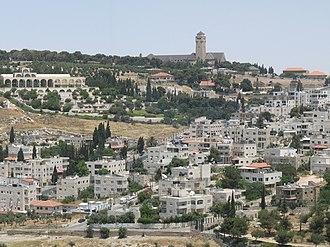 BYU Jerusalem Center - The distinctive multiple-arched BYU Jerusalem Center (top left) amid the buildings of Jerusalem