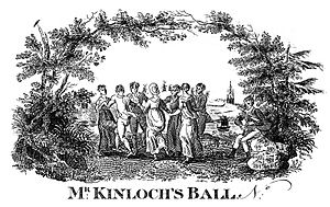 Robert Bewick - This ball ticket was engraved by Robert Bewick, from a drawing by his father. The seated piper is Robert himself.
