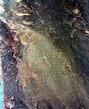 Bhojeshwar Temple - Architectural drawings engraved in the surrounding rock, for use by the artisans
