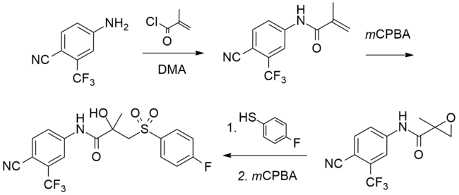Bicalutamide chemical synthesis diagram