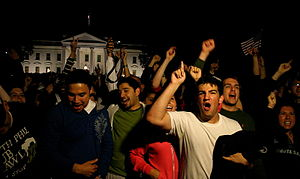 Death of Osama bin Laden - Americans celebrating after the death of Osama bin Laden in front of The White House