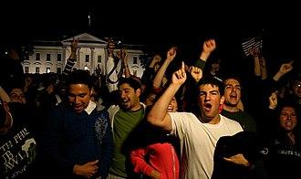 Death of Osama bin Laden - Americans celebrating after the death of Osama bin Laden in front of The White House