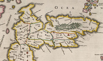 """Demographic history of Scotland - A seventeenth-century map of Scotland based on Ptolemy's Geographia: the """"towns"""" were probably hillforts"""
