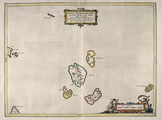 "Small Isles - Blaeu's 1654 Atlas of Scotland - The Small Isles. Rum is at centre, surrounded by ""Kannay', 'Egg' and 'Muck'."
