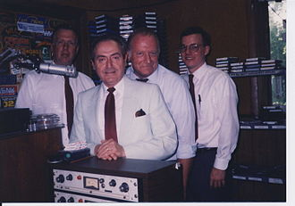 Lackawanna Cut-Off Restoration Project - Promoting the restoration of service on the Lackawanna Cut-Off and the 1989 New Jersey bond issue for the acquisition of rail rights-of-way on WFMV, 106.3 FM, a radio station located in the Blairstown train station, are (L to R): Larry Wills, chairman, Monroe County RR Authority; Maurice Lewis, PA chairman, Penn-Jersey Rail Coalition; Fred Wertz, NJ chairman, Penn-Jersey Rail Coalition; and Chuck Walsh, president, North Jersey Rail Coalition.