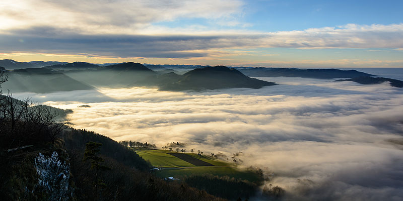View from Blassenstein mountain near Scheibbs (Lower Austria) to the west, with fog over Erlauf valley and Danube. From an eating tour of Austria