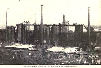 Lowthian Bell - Blast furnaces at Bell Brothers' Port Clarence Ironworks, Middlesbrough, 1917