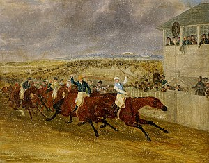 "Bloomsbury (horse) - The ""snowstorm"" finish of the 1839 Derby, by James Pollard."