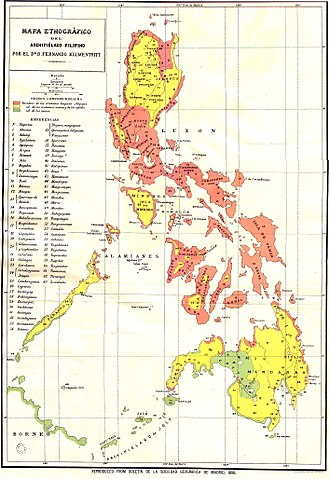 Demographics of the Philippines - Ethnographic Map of the Philippines 1890