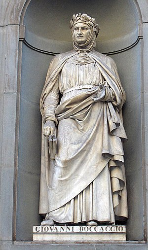 Renaissance literature - Giovanni Boccaccio, statue at the Uffizi gallery, Florence