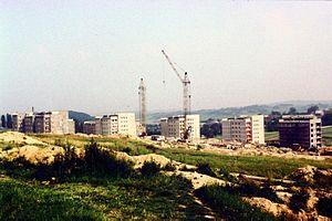 Bochnia - Construction of the Osiedle XXX-lecia housing estate, 1981