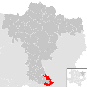 Location of the municipality of Bockfließ in the Mistelbach district (clickable map)