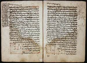 The Compendious Book on Calculation by Completion and Balancing - Pages from a 14th-century Arabic copy of the book, showing geometric solutions to two quadratic equations