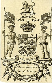 A Bookplate showing the Brudenell-Bruce coat of arms.