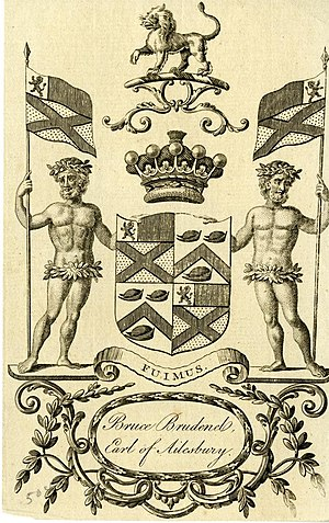 Marquess of Ailesbury - A Bookplate showing the Brudenell-Bruce coat of arms.
