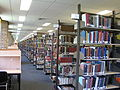 Bookshelves on the top floor of the Chifley Library.JPG