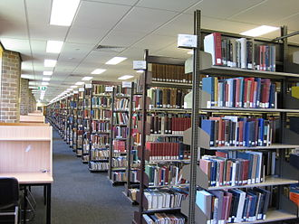 Australian National University Library - Bookshelves on the top floor of the Chifley Library