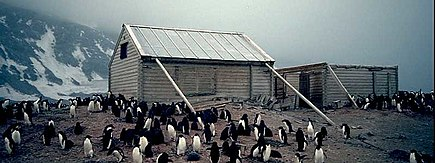Borchgrevink's 1899 hut at Cape Adare photographed in 1992. Campbell's Northern Party camped nearby in 1911-1912. Borchgrevink Hut.jpg