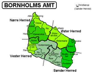 Bornholm County - Bornholm and Christiansø hundreds and 5 municipalities (1970-2002) in green colour and municipalities before April 1, 1970