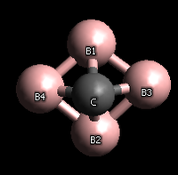 The structural formula for boron carbide, consisting of a carbon atom covalently bonded to all four boron atoms and each boron atom connected to two other boron atoms.