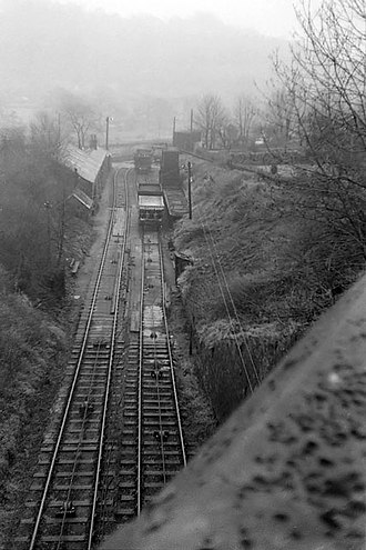 High Peak Junction - A 1966 view from the A6 bridge down the lower part of Sheep Pasture incline towards the wharf.