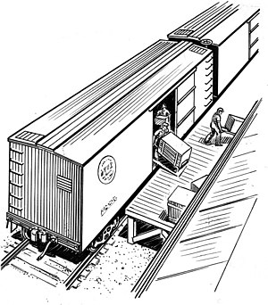Boxcar - Illustration of a boxcar being unloaded by hand