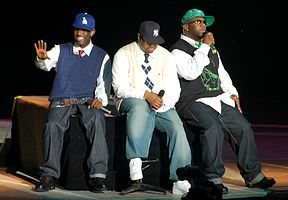 Boyz II Men at the Genting Highlands, Malaysia in 2007. Left to right: Shawn Stockman, Nathan Morris, and Wanya Morris.