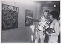Bríd Frawley and ? looking at painting at NIHE Limerick during Plassey Arts Days 1985. (9269252158).jpg