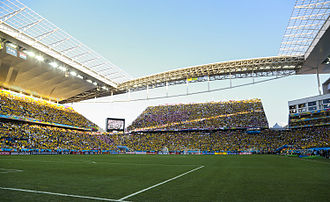 Arena Corinthians - Temporary seating and scoreboard on the South End for the World Cup