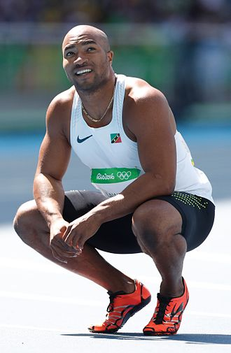 Saint Kitts and Nevis at the Olympics - Brijesh Lawrence during the 100 meter sprint heats.