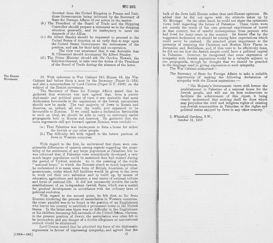 British War Cabinet Minutes approving the release of the Balfour Declaration