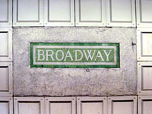 Broadway (MBTA station) - Original tiled mosaic station sign