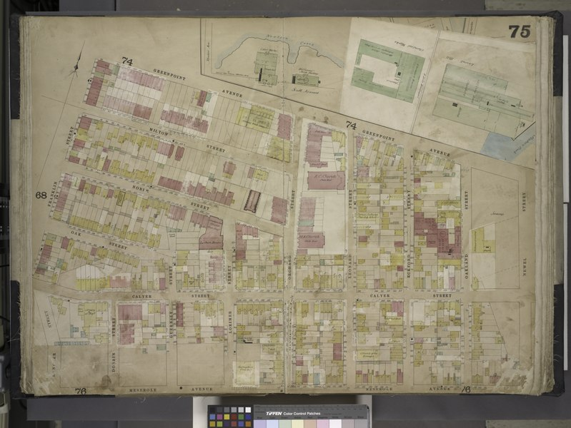 File:Brooklyn, Vol. 4, Double Page Plate No. 75; (Map bounded by Meeker Ave., Scott Ave., Newtown Creek, Newel St., Meserole Ave., Franklin St., Greenpoint Ave., Milton St., Noble St; Including Oak St., NYPL1695442.tiff