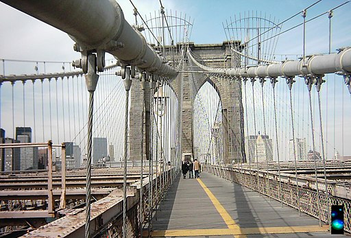 Brooklyn Bridge as viewed from pedestrian walkway