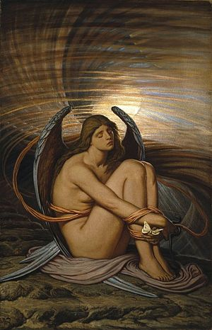 Guilt (emotion) - Soul in Bondage by Elihu Vedder, created between 1891 and 1892