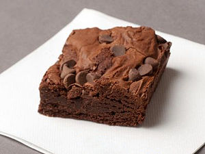 A brownie on a napkin