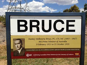 Bruce, Australian Capital Territory - Suburb sign