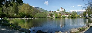Buchs, St. Gallen - Schloss Werdenberg and Werdenberg lake, looking from Buchs toward Grabs