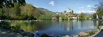Buchs, St. Gallen - Schloss Werdenberg and Werdenberg lake, looking from Buchs toward Grabs