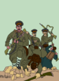 Bulgarians overrun the Turkish positions (cartoon).png